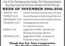 Thanksgiving Week Sanitation Changes